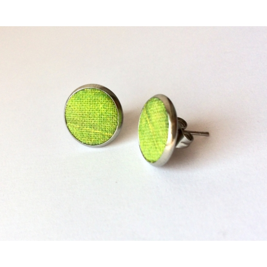 Levélmintás zöld pötty fülbevaló
