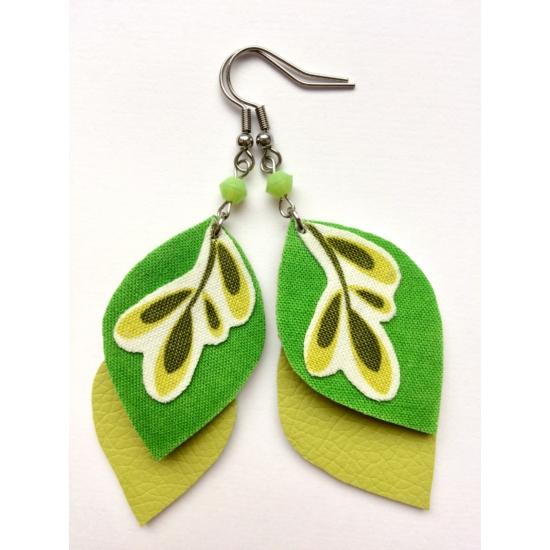 Fűzöld leveles fülbevaló