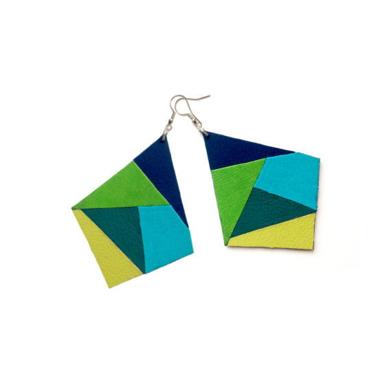 """Geometriai mintás """"kék és zöld"""" fülbevaló"""