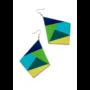 """Kép 2/4 - Geometriai mintás """"kék és zöld"""" fülbevaló"""