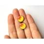 Kép 4/4 - Sárga, virágos bedugós fülbevaló