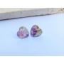 Kép 1/5 - Szív fülbevaló lila virágmintával