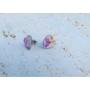 Kép 4/5 - Szív fülbevaló lila virágmintával