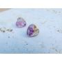 Kép 3/5 - Szív fülbevaló lila virágmintával